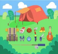 草地上的红色帐篷