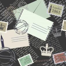 邮票邮戳旅行元素平铺图