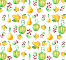 水彩绘南瓜枫叶和梨无缝背景