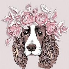 玫瑰花花环宠物狗卡通形象