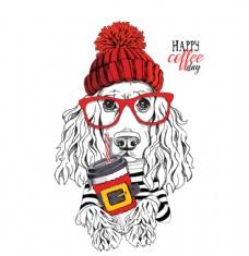 冬天戴毛线帽子的狗