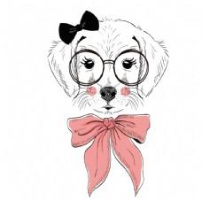 粉色蝴蝶结可爱狗狗