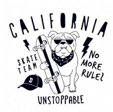 街头滑板狗狗卡通形象