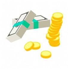 金币和人民币插画