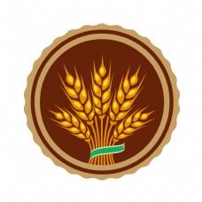 圆形麦穗图标插画