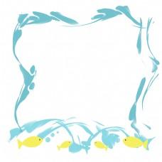 黄色小鱼海水边框
