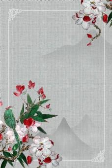 中式工笔画古典花卉中国风背景