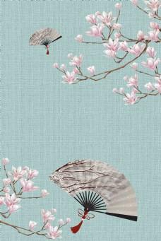 中国风花卉古典工笔画中式背景海报