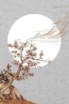 古典花卉远山传统祥云中国风背景