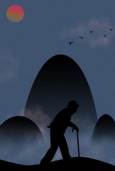 简约中国风父亲节剪影海报背景