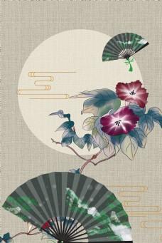 古风中式工笔画古典花卉中国风背景