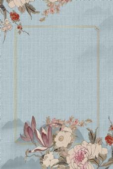 古典花卉传统古风工笔画背景海报
