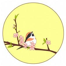 中国风花鸟圆形边框红头长尾山雀矢量免抠图