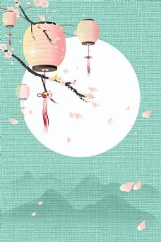 中国风工笔画简约古典中式海报