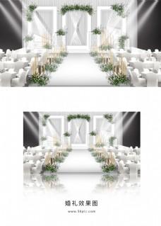 白色简约唯美婚礼舞台效果图