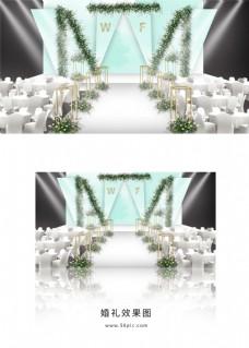 蓝色简约婚礼舞台效果图