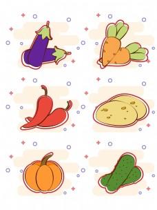 原创简约矢量卡通蔬菜素材可商用