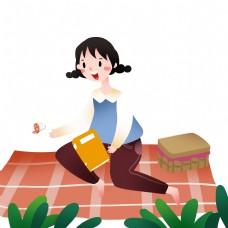 看书的小女孩插画