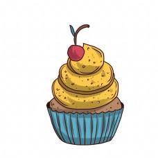 巧克力纸杯蛋糕插画