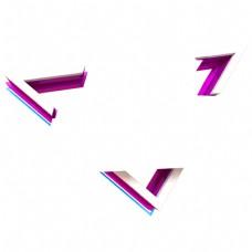 电商彩色的立体三角形