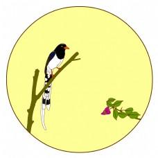 中国风花鸟圆形边框红嘴蓝鹊矢量免抠图