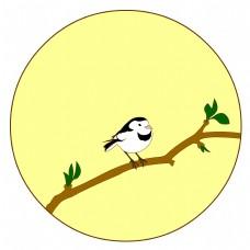 中国风花鸟圆形边框白??矢量免抠图