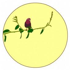中国风花鸟圆形边框酒红朱雀矢量免抠图