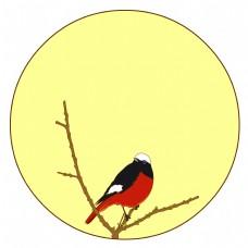 中国风花鸟圆形边框红腹红尾鸲矢量免抠图