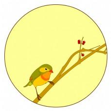 中国风花鸟圆形边框相思鸟雀矢量免抠图