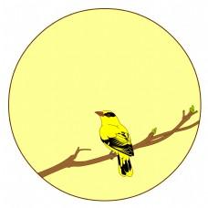 中国风花鸟圆形边框黄鹂矢量免抠图