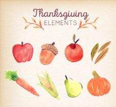 7款水彩绘复活节蔬菜和水果