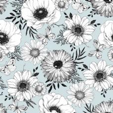 蓝色底白描花朵