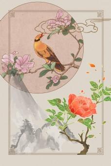 中国风花鸟工笔画背景