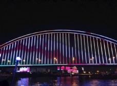 夜晚 武汉长江大桥