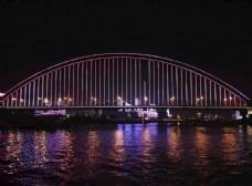 夜色下美丽的武汉长江大桥