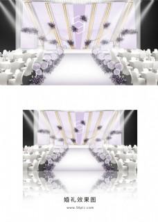 紫色唯美简约婚礼舞台效果图