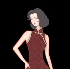 民国风 复古 纹理 旗袍