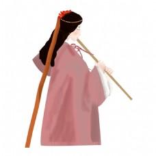 古代美女人物插画素材