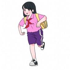 飞奔的女孩上学插画