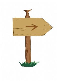 木质路牌卡通插画