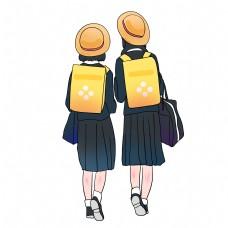 穿校服女学生上学