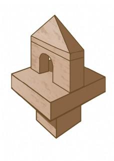 建筑木质卡通插画
