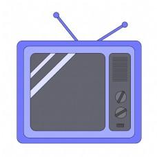 卡通蓝色电视机插图