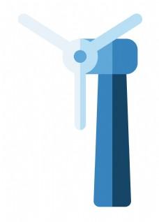 天蓝色风车环保插画