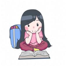 坐着看书女孩插画