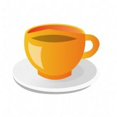 精致的黄色茶杯插画