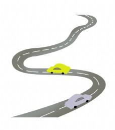 高速公路和汽车插图