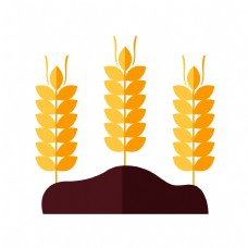 精美的黄色麦穗插画