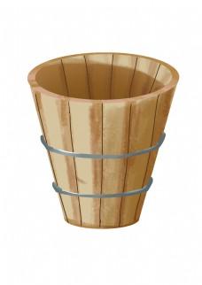 木质水桶卡通插画
