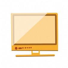 黄色液晶电视插画